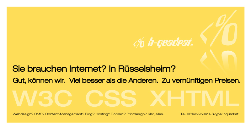 Webdesign R�sselsheim - A Division of H-Quadrat.it